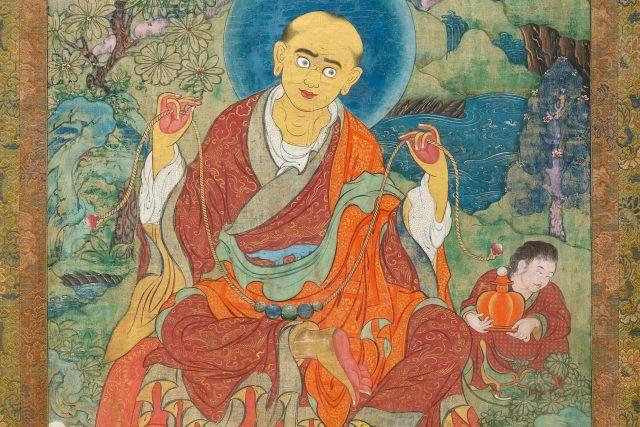 The Elder Arhat Kanakavatsa Tibet c. 18th century  Ground mineral pigments on cloth 36 ¼ x 24 in.(92 x 61 cm.) HAR # 36292 Provenance: Koller Zurich, June 1978, lot 46